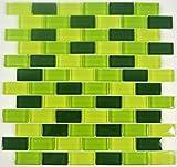 Mosaikfliesen Fliesen Mosaik Küche Bad WC Wohnbereich Fliesenspiegel Glasmosaik Brick grün Mix 8mm #442