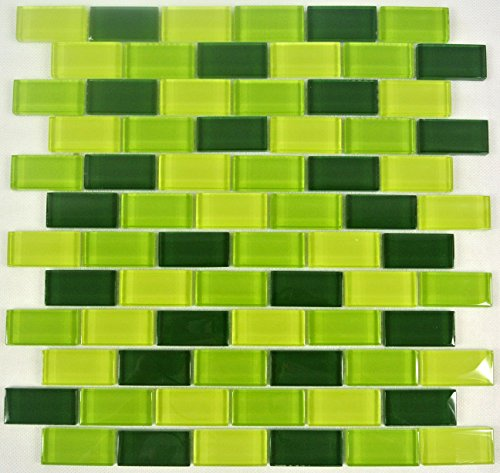Brick-mosaik-fliesen-böden (Fliesen Mosaik Mosaikfliese Küche Bad WC Glas Brick grün Mix 8mm NEU #442)