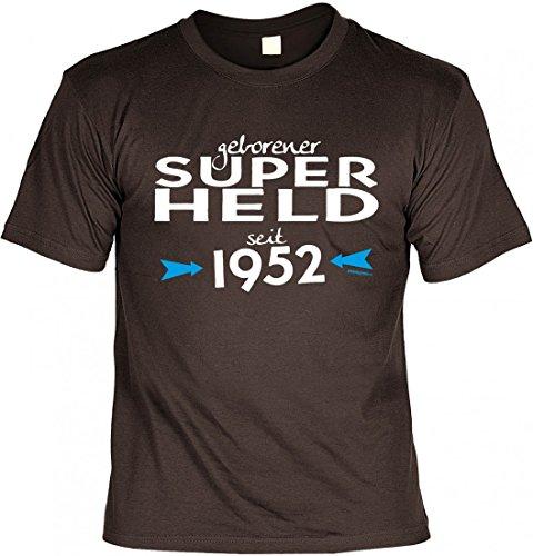 T-Shirt zum Geburtstag - geborener Super-Held seit 1952 - lustige Geschenk-Idee zum Jahrgang in der Farbe Braun, Größe:S