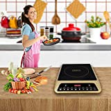 ORBON® 2000 Watts PIC-20 Push Button Induction Cooktop (Unique Golden) (Made in India) (Free Shipping) (with Copper Cord)