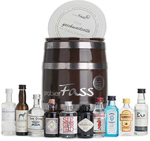 probierFass Gin Set | 10 beliebte Gin Klassiker (8 x 0.05 l und 2 x 0.04 l) in einem originellen Fass mit Geschenkverpackung | Gin Geschenk | Gin Probierset