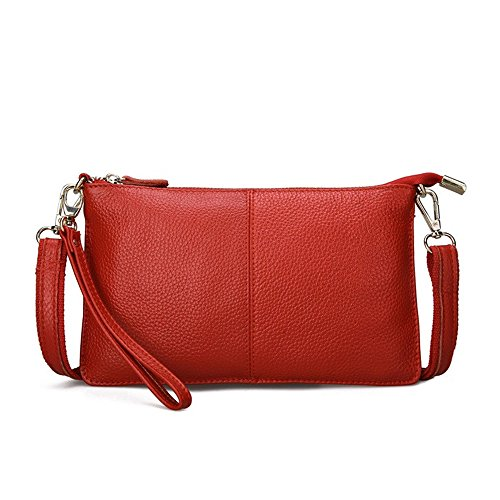 Mynos Fashion Genuine leather Crossbody Bag for Women Small Wristlet Clutch Purse Phone Wallets (red)