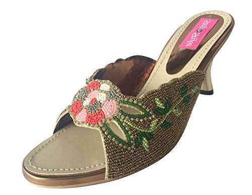 Step n Style Women Copper Multi Beads Ethnic Party Wedding Slip-On