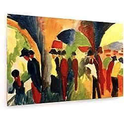 August Macke - Spaziergänger - 120x80 cm - Textil-Leinwandbild auf Keilrahmen - Wand-Bild - Kunst, Gemälde, Foto, Bild auf Leinwand - Alte Meister/Museum