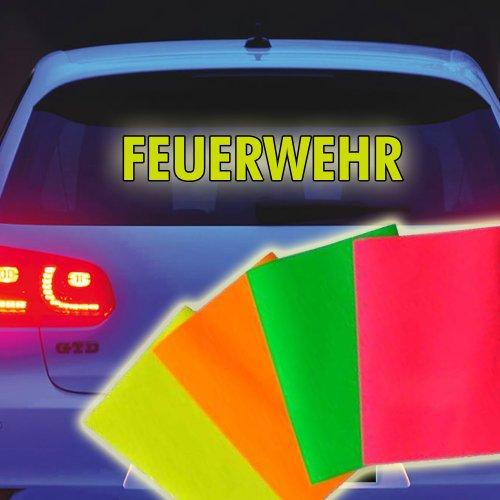 """Neon Leucht \""""FEUERWEHR\"""" Aufkleber Heckscheibe Tuning Neonfarbe leuchtet grell 30 x 5 cm"""