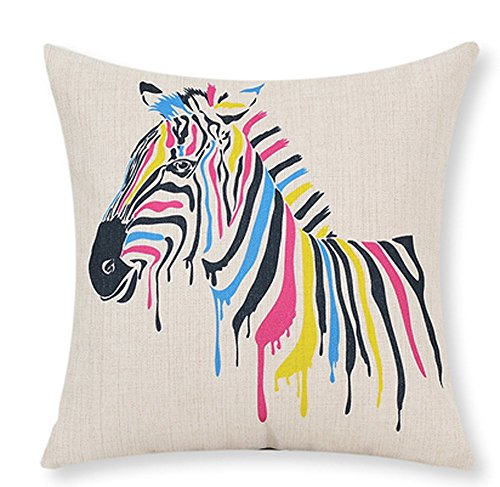 Animal Cheetah Zebra Giraffe Kissen Fall Baumwolle-Mischgewebe Leinen Kissenbezug Sofa Dekorative Quadratisch 45,7cm Family Life, baumwolle, 3, 45cm x 45cm ,18