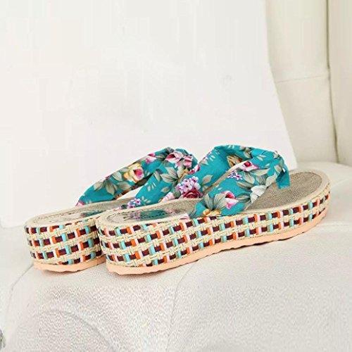 Hunpta Frauen Keil Plattform Thong Flip Flops lässige Hausschuhe Badeschuhe Blau