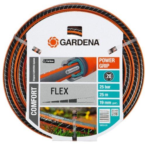 Gardena Comfort Flex Schlauch Formstabiler, Flexibler Gartenschlauch mit Power-Grip-Profil, Spiralgewebe, 25 bar Berstdruck, ohne Systemteile, 19 mm, 3/4 Zoll, 25 m