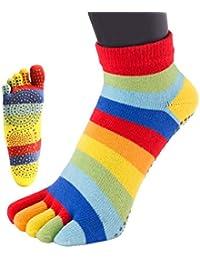 TOETOE chaussettes à doig basse anti dérapante rayures arc en ciel