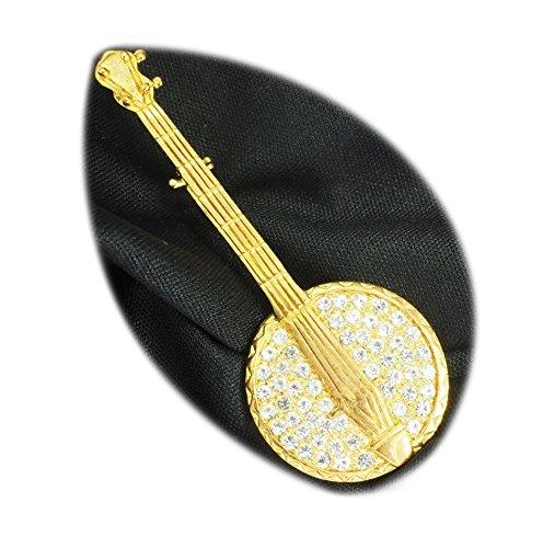streitstones - vergoldete Brosche mit Swarovski, Balalaika - Lagerauflösung