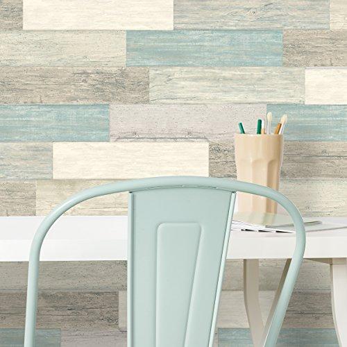 RoomMates Distressed Barn Wood Plank Wandtattoo, Vinyl, bunt, 2 Blätter-16 Teile-43,8 x 92,7 cm -
