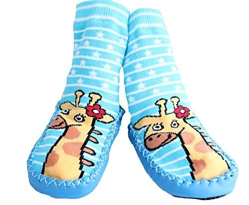 Baby Homesocks Baby Toddlers Kids Indoor Slippers Shoes Socks Moccasins NON SKID BLUE STRIPED GIRAFFE (9-18 MTHS)