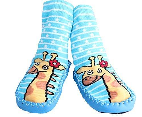 Hausschuhe, für Jungen und Mädchen, rutschfest, blaue, gestreifte Giraffe Gr. 86, blau (Kinder-socken Giraffe)