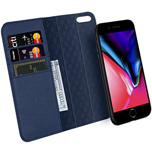 ZOVRE iPhone 8/7 Hülle Echt Leder Luxus Serie Unterstützt kabellose Laden Handyhalterung Auto Magnet Lüftung Abnehmbar Geldbörse Hülle Magnetverschluss Geschenkbox - Marineblau