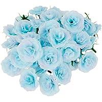 50pcs Flores Artificial de Cabezas Seda Clavel Decoración de Hogar Partido Boda Fiesta Azul