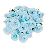 50pcs Kunstseide Kunstblumen Rose bluete koepfe Masse Hochzeit Parteidekor Blau