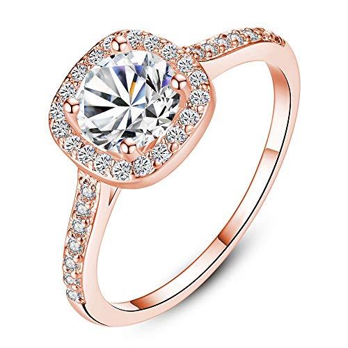 Belingeya Bague Homme Bague de fiançailles en Cristal taillé Princesse pour Femmes, plaqué Or Rose 18K Alliance (Couleur : Rose Gold, Taille : 8)