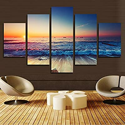 XrsArt 5 pieces printed canvas wall art Modern decorative painting image Sunset Seascape home decor canvas (unframed) FCa39 50 inch x30 inch - low-cost UK light shop.