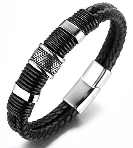 halukakah-honneurle-bracelet-de-lhomme-en-cuir-veritable-noire-dore-846-21-5cm-avec-le-boite-cadeau-