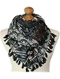 Square teal coloured scarf with print 829-T (TEAL)