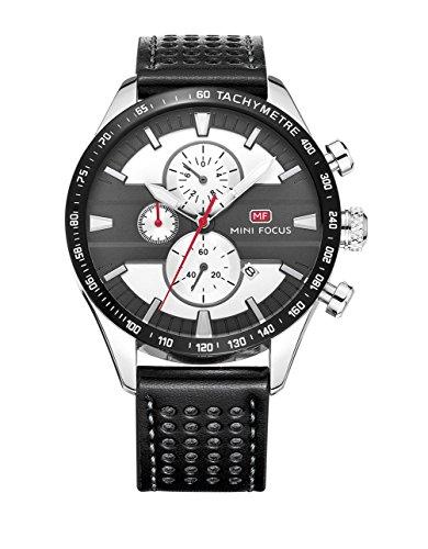 Ssq-cxo orologio sportivo da uomo, calendario multifunzione luminoso, cinturino in pelle con cinturino in quarzo tondo movimento al quarzo impermeabile da polso