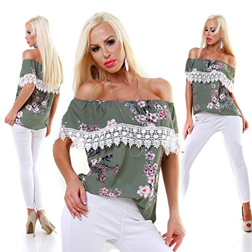 Italy Fashion Damen Edel Tunika Shirt Bluse FLOWER Grün