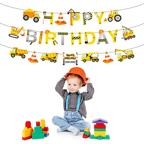 Phogary Banner Alles Gute zum Geburtstag Happy Birthday, Baustelle Themenparty Dekoration, Bagger Truck Builder Bulldozer Tank Garland Party Favors Geburtstag Party Dekor für Jungs Kinder