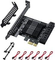 6 منافذ بطاقة 6 منافذ من MZHOU PCIe SATA 3. 0 PCIe Card تدعم 6 SATA 3. 0 أجهزة، مع 6 كابلات ساتا وكابل مقسم طا
