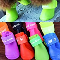 Swiftswan Dog Shoes Silicone Waterproof 4/Set For Pet Dog Teddy Dog   Non-Slip Pet Rain Boots Pet Accessories Boots