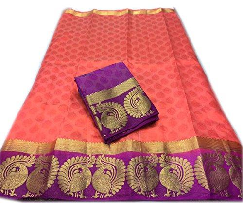 Nirja Creation Cotton Silk Saree (NC-OD-MOR-06_Pink_Free Size)