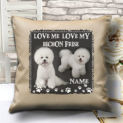 personalisierbar Bichon Frisé Hund Welpen Custom komplett Scatter Kissen, 40cm x 40cm–mit einfügen/Pad