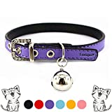 "Leather Cat Collars with Bell Safety Buckle Soft and Adjustable for Girls Kitty, Puppy, Small Dogs Fit 7""-9""/Purple"