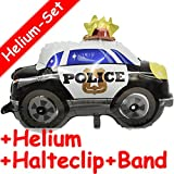Folienballon Set * POLIZEI + HELIUM FÜLLUNG + HALTE CLIP + BAND * für Kindergeburtstag oder Motto-Party // JUNIOR SHAPE // Folien Ballon Helium Deko Ballongas Polizeiauto Police