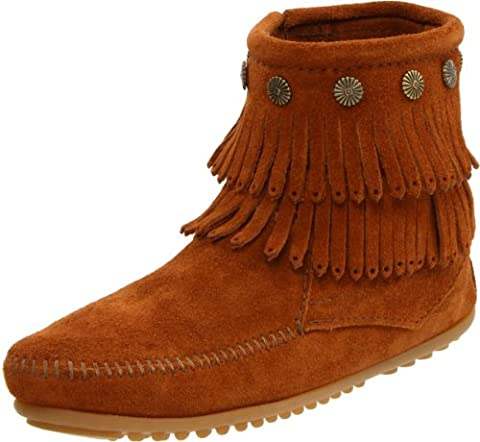 Minnetonka Double Fringe Side Zip Boot, Chaussures bateau homme, Rouge (Pinecone Olive), 42 EU