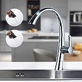 BONADE Küchenarmatur Ausziehbar Schwenkbarer 360° Wasserhahn Küche Einhebelmischer Spültischarmatur Küchenmischer Messing Spültischbatterie, Chrom