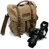 iDream – Professionnel 2 en 1 sac à dos & Sac bandoulière canvas étanche pour appareil photo reflex DSLR SLR Canon Nikon Pentax pour ordinateur Apple Lenovo Asus – Jaune