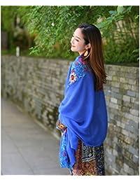 Tinksky Lin été châle foulard crème solaire Wrap avec fleurs brodées (bleu Royal)