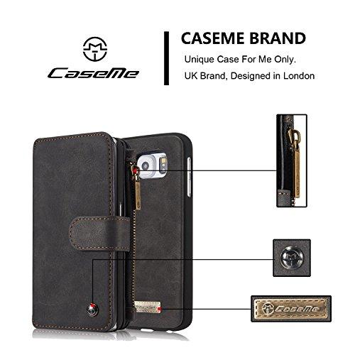 Wkae Wallet Case, CaseMe Abnehmbare Premium Leder Tasche, 13 Card Slots, 1 Foto Frame Zipper Magnetische Abdeckung für Samsung Galaxy S6 ( Color : Red ) Black