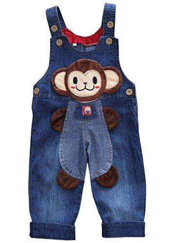 Happy Cherry Unisex Babys Cartoon Salopette Denim Bavaglino morbido pantaloni bambini Jeans salopette Tuta blu denim blue 6-12 mesi