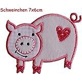 2 Ecussons patch appliques Porc 7X6Cm Arbre 7X9Cm thermocollant brode broderie pour vetement jeans veste enfant bebe femme avec dessin TrickyBoo Zurich Suisse pour France