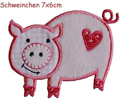 2 Ecussons patch appliques Porc 7X6Cm Abeille 9X8Cm thermocollant brode broderie pour vetement jeans veste enfant bebe femme avec dessin TrickyBoo Zurich Suisse pour France