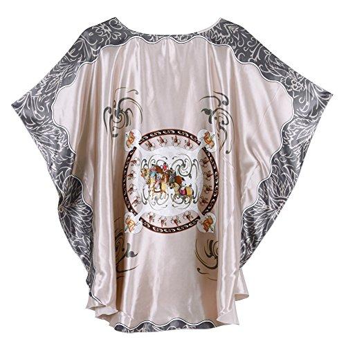 West See Damen Nachtwäsche Kimono Morgenmantel Negligee Schlafanzug Satin Look Bademantel Grau