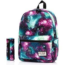 TRENDMAX Mochila Escolar con Estampado de Galaxia | para portátil 15 Pulgadas | con el Bolso a Juego del lápiz