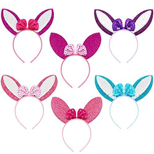 Frcolor Stirnband für Kinder und Erwachsene, Osterhasenohren, Oster-Party, Kostüm, Cosplay, 6 Stück