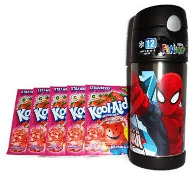 thermos-ultimate-spiderman-12-oz-funtainer-and-5-packs-of-strawberry-kool-aid-bundle-by-thermos