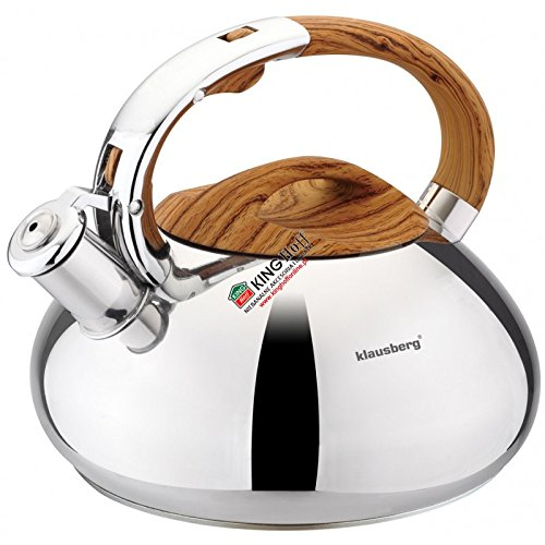 Klausberg 7077 Stainless Steel Whistling Kettle 3 L Coffee Tea Espresso Induction