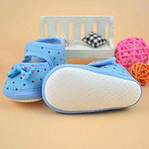 Ularma Bébé bowknot Bottes Crib Doux Chaussures (10.5cm, bleu) bleu