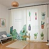 Vorhang Blickdichte Vorhänge Gardinen Wohnzimmer Vorhang Verdunkelung Ösen Gardinen Schlafzimmer Grüne Pflanze Polyester-Gewebe, White, 200 * 270cm
