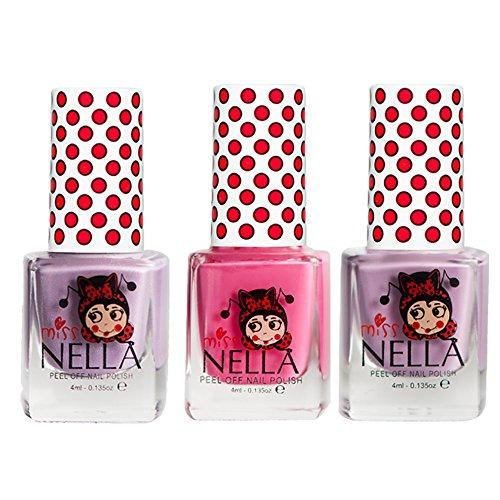 Miss Nella Bubble Gum, Rosa A Boo, Schmetterling Flügel GLITTER Special Glitzer Kinder Nagellack mit Peel Off auf Wasserbasis ()