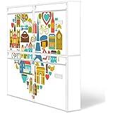 Burg-Wächter buzones, Diseño de correo, chapa de acero de colour blanco, por correo electrónico 5877 vatios 72 x 64 x 10 cm con imagen de París, mon Amour